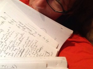 Liz smothered even further by papers, must be writing time!