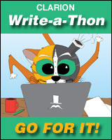 Clarion Write-a-Thon badge, cute critter says go for it!